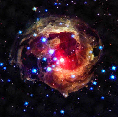 Space Image Red Star In The Universe Art Print by Matthias Hauser