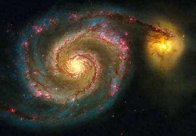 Photograph - Space Image Spiral Galaxy M51 by Matthias Hauser