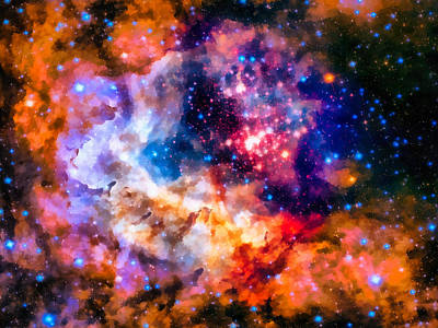 Space Image Star Cluster And Nebula Art Print by Matthias Hauser