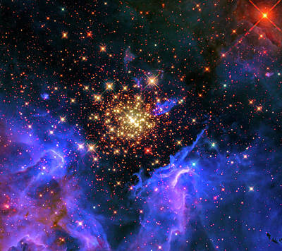 Photograph - Space Image Starburst Cluster Black Blue Golden by Matthias Hauser