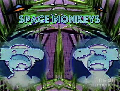 Update Digital Art - Space Monkeys 2017 by Alan M Thwaites