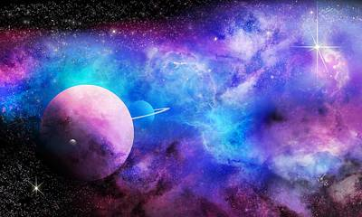 Digital Art - Space Nebula And Planets by John Wills