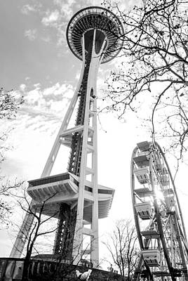 Black And White Photograph - Space Needle by Aron Kearney