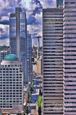 Photograph - Space Needle As Seen From The Smith Tower Seattle by Allen Beatty