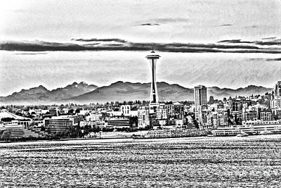 Seattle Drawing - Space Needle Bw by Jasmin Hrnjic