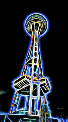 Digital Art - Space Needle  by Cathy Anderson