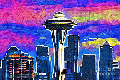 Digital Art - Space Needle Colorful Sky by Kirt Tisdale