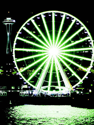 Space Needle Ferris Wheel Art Print