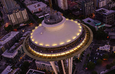 Photograph - Space Needle Flyover Dusk by Mike Reid