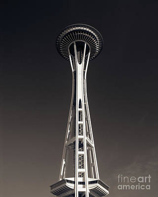 Photograph - Space Needle Monochrome by Blake Webster