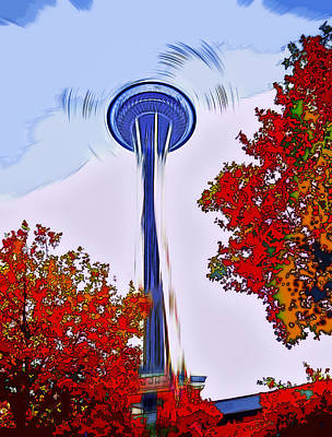 Tourist Attraction Digital Art - Space Needle Poster Art by Steve Ohlsen