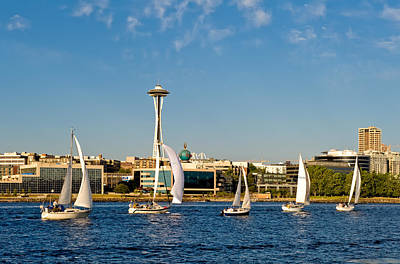 Space Needle Sailboats Art Print by Tom Dowd