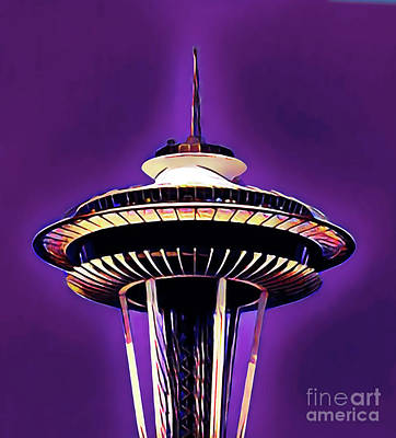 Digital Art - Space Needle, Seattle Washinton by Wernher Krutein