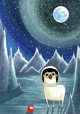 Pugs Painting - Space Pug  by Andrew Hitchen