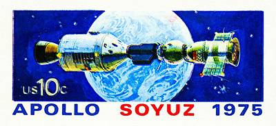 Electronics Painting - Space Satellite - Apollo Soyuz by Lanjee Chee