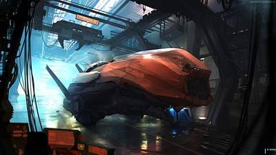Transporter Digital Art - Space Ship by Emma Brown