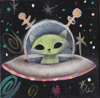 Pop Surrealism Painting - Space Ship Green Cat  by Abril Andrade Griffith
