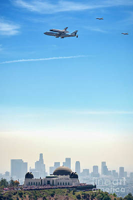 Photograph - Space Shuttle Endeavour, Chase Planes Over The Griffith Observatory Skyline by David Zanzinger