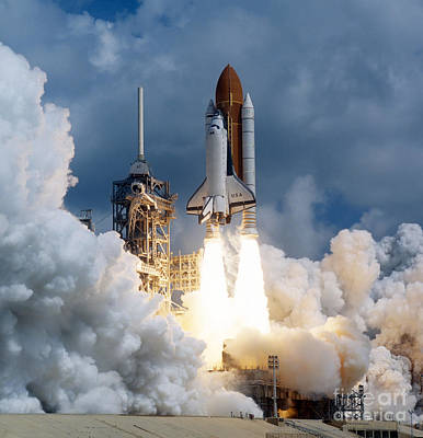 Space Ships Photograph - Space Shuttle Launching by Stocktrek Images