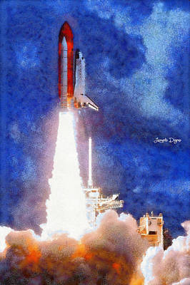 Astronauts Painting - Space Shuttle - Pa by Leonardo Digenio