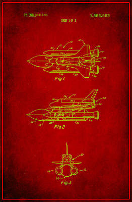 Space Shuttle Patent Drawing 1a Art Print