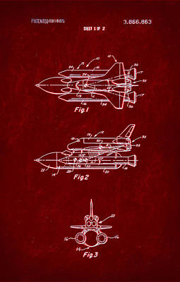 Space Shuttle Patent Drawing 1b Art Print