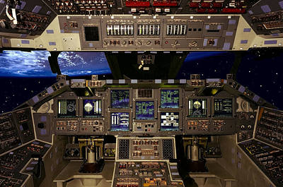 Cape Kennedy Photograph - Space Shuttle Pilot Command Console by Daniel Hagerman