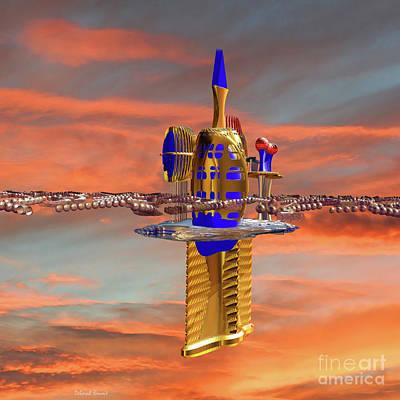 Incendia Digital Art - Space Station 3 by Deborah Benoit