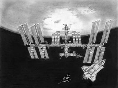Space Ships Drawing - Space Station And Space Shuttle Drawing by James Schultz
