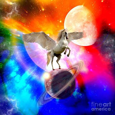 Space Unicorn Art Print by Haris Kavalla