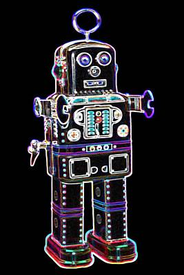 Neon Digital Art - Spaceman Robot by DB Artist