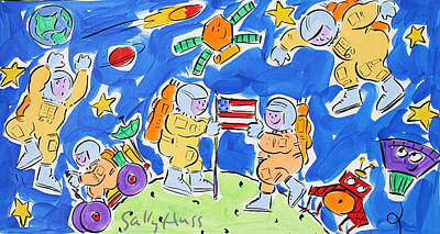 Wall Art - Painting - Spacemen Blue by Sally Huss