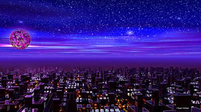Spaceport Digital Art - Spaceport Sunset by Roger Wedegis