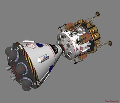 Print featuring the digital art Spaceship Columbia And Lander Morningstar by David Robinson
