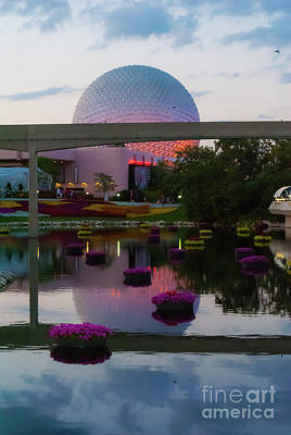 Photograph - Spaceship Earth Evening View by Pamela Williams