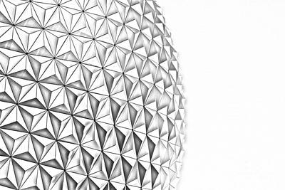 Digital Art - Spaceship Earth Sunset Profile Epcot Walt Disney World Prints Line Art by Shawn O'Brien