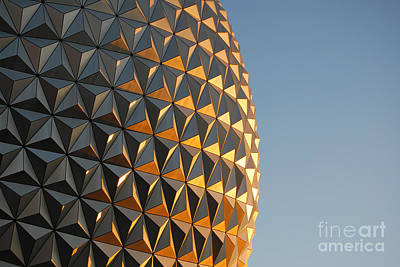 Photograph - Spaceship Earth Sunset Profile Epcot Walt Disney World Prints by Shawn O'Brien