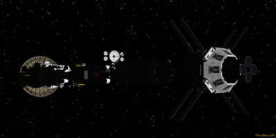 Digital Art - Spaceship Uss Savannah In Deep Space by David Robinson