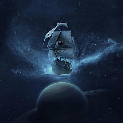 Stars Digital Art - Spaceship by Zoltan Toth
