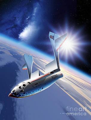 Galactic Alignment Digital Art - Spaceshipone Re-entry by Detlev van Ravenswaay and Photo Researchers