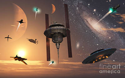 Spaceships Used By Different Alien Print by Mark Stevenson