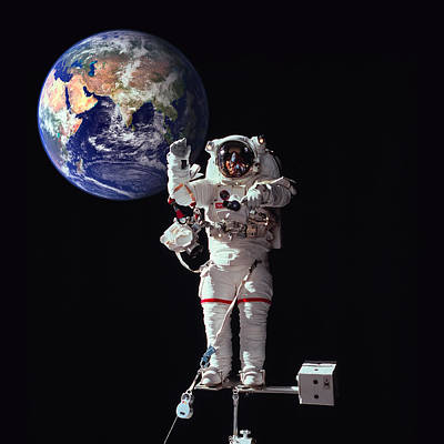 Spacewalk Earth Art Print by Daniel Hagerman