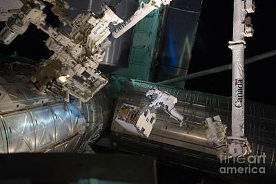 Spacewalk On Iss Art Print by NASA/Science Source