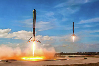 Photograph - Spacex Falcon Heavy Booster Landing by SpaceX