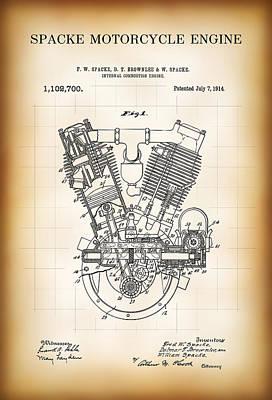 Spacke Motorcycle Engine Patent 1914 Art Print by Daniel Hagerman