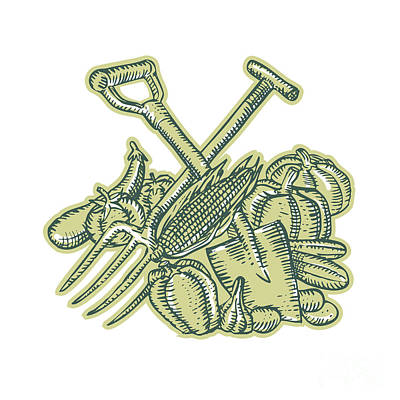 Potato Digital Art - Spade Pitchfork Crop Harvest Etching by Aloysius Patrimonio