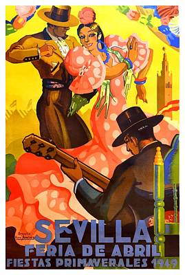 Semana Santa Wall Art - Digital Art - Spain 1949 Seville April Fair Poster by Retro Graphics