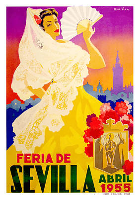 Andalusia Digital Art - Spain 1955 Seville April Fair Poster by Retro Graphics
