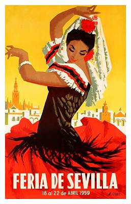 Andalusia Digital Art - Spain 1959 Seville April Fair Poster by Retro Graphics