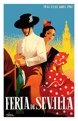 Spain 1961 Seville April Fair Poster Art Print